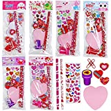 30 Sets Valentine's Day Stationery Toy Assortment Set Birthday Bags Goodie Bag Valentine Prizes Rewards Bulk Pack for Kids Girls Students Valentine's Day Party Favors School Classroom Exchange Gifts