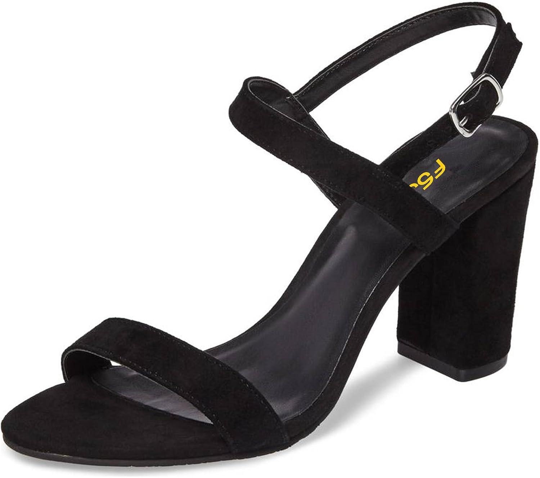 FSJ Women Casual Ankle Strap Sandals Open Toe Block Chunky High Heels Dress shoes Size 4-15 US