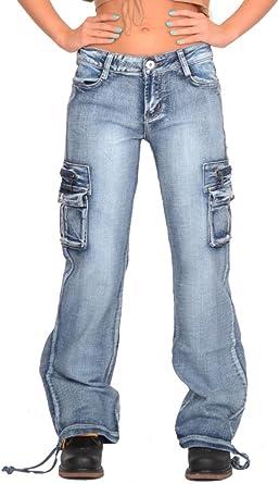 Pantalones Denim Cargo Militares para Mujer Jeans de Combate Anchos y Sueltos – Azul Claro