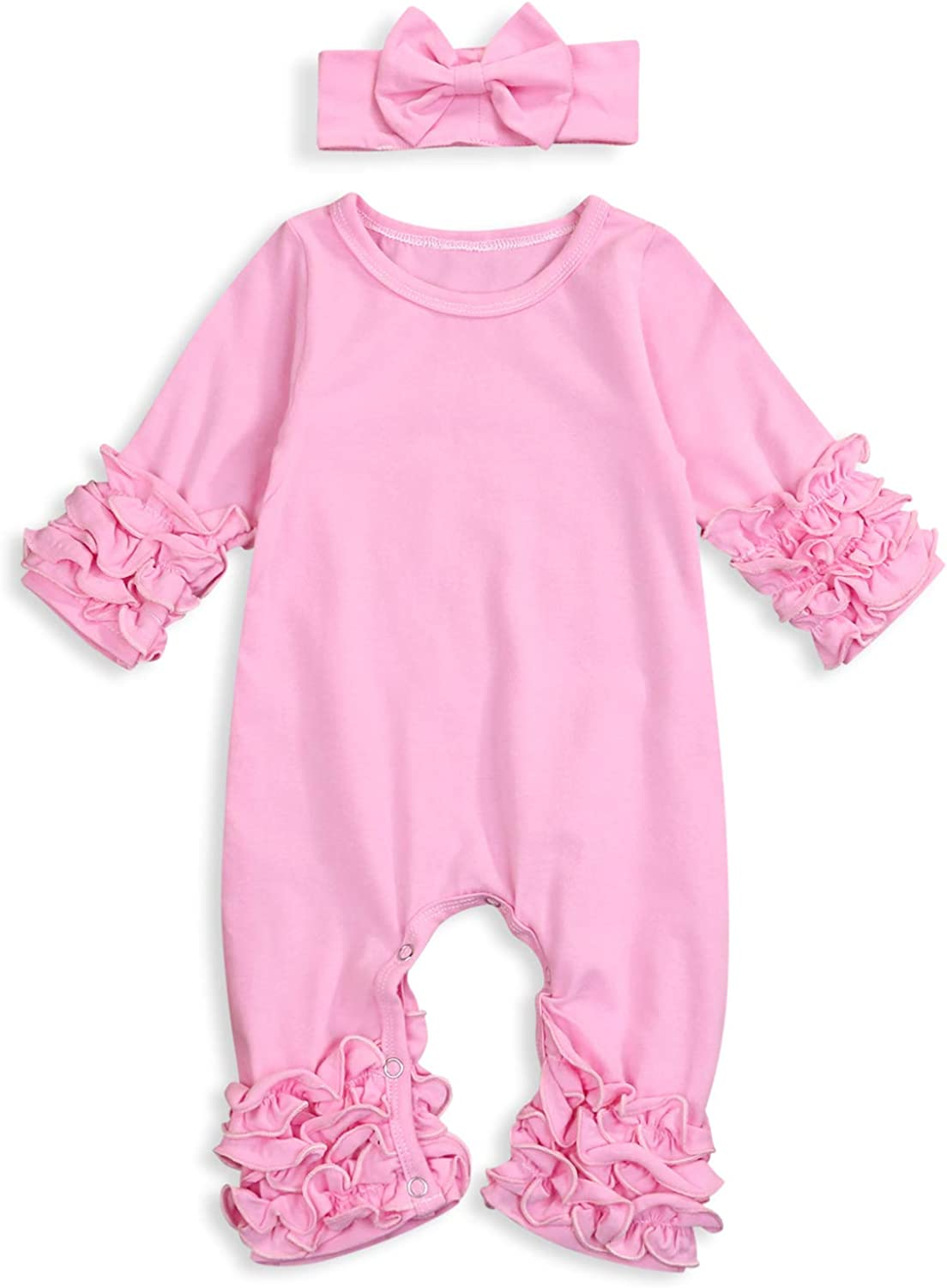 Newborn Baby Girls Fold Ruffle Jumpsuit Infant Solid Romper Long Sleeve One-Piece Coming Home Outfits+Headband