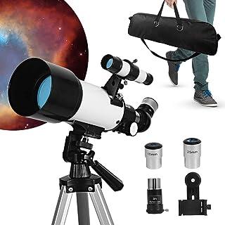 天体望遠鏡 てんたいぼうえんきょう ぼうえんきょう 子供 初心者 屈折式 70mm大口径400mm焦点距離 天体観測 星座 スマホ撮影 正立天頂プリズム 軽量 伸縮式三脚 トレイ アダプターを付き