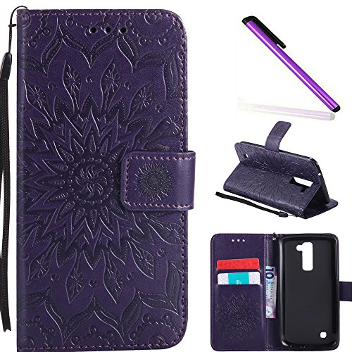 HMTECH LG K10 2016 Case LG Premier LTE Case Sunflower Embossed Floral Wallet Case Card Slots Kickstand Premium PU Leather Flip Stand Full-Body Protective Cover for LG K10 2016 KT Mandala Purple
