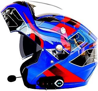 Oeyal Full Face Motorcycle Street Bike Helmet Anti-Fog Flip up Dual Visors Motorcross Helmets with w/Bluetooth, MP3, GPS (Large, Blue-Red)