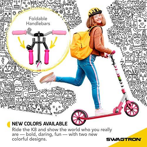 "Swagtron K8 Folding Kick Scooter with Kickstand for Kids & Teens, XL 8"" Big Wheels & ABEC-9 Bearings Lightweight, Height-Adjustable Stem, 220lb Rider Capacity (Pink)"