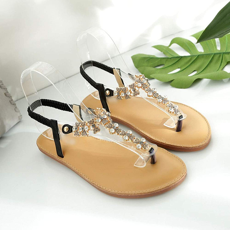 WENNEW Women's Sandals Bohemian Flat Butt Comfy Rhinestone