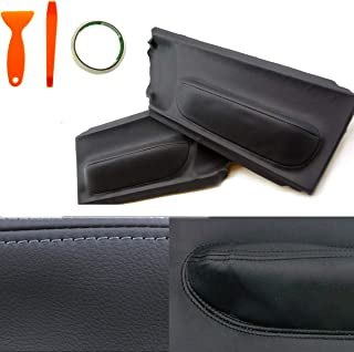 Door Panel Leather, Interior Armrest Synthethic Leather Insert Cards Cover Upholstery with Removal Tool Kit for 1998-2010 Volkswagen Beetle, 1 Pair Black Leather Door Panels