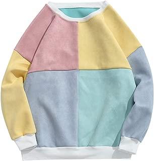 ZAFUL Men's Long Sleeve Crewneck Color Block Splicing Suede Pullover Sweatshirts