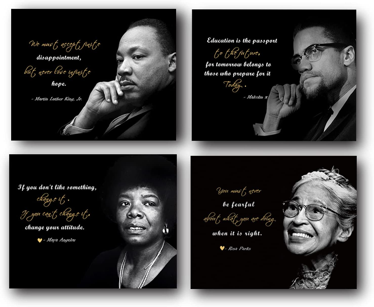Motivational Wall Art(Set of 4 Powerful Black History Un framed Art Print) Set Includes Martin Luther King, Rosa Parks, Malcolm X, and Maya Angelou -8x10 inch