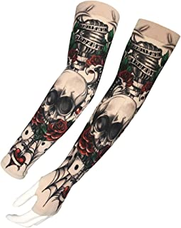 SIMPLEWORD Cooling Arm Sleeves,Fake Temporary Tattoo Arm Sunscreen Sleeve Design for Cycling Driving Running Basketball Football (A24)