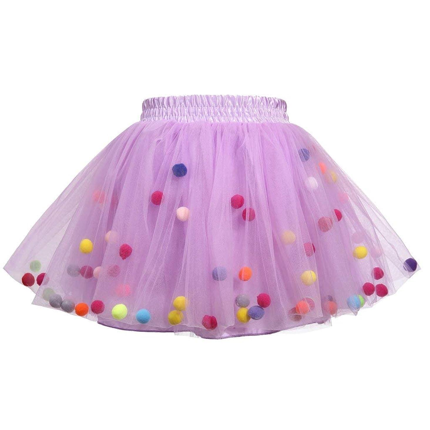 Meeyou Little Girls' 3 Layers Tutu Skirt with 3D Pom Pom Puff Balls