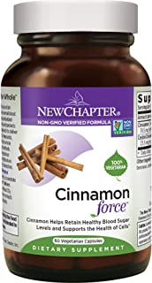 New Chapter Cinnamon Supplement - Cinnamon Force for Blood Sugar Support + Antioxidant Action + Non-GMO Ingredients - 60 ct Vegetarian Capsules