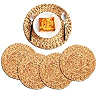 ZKZNsmart 4pcs Natural Water Hyacinth Weave Placemat Heat-Resistant Non-Slip Woven Handmade Round Braided Rattan Tablemats (11.8 inch)