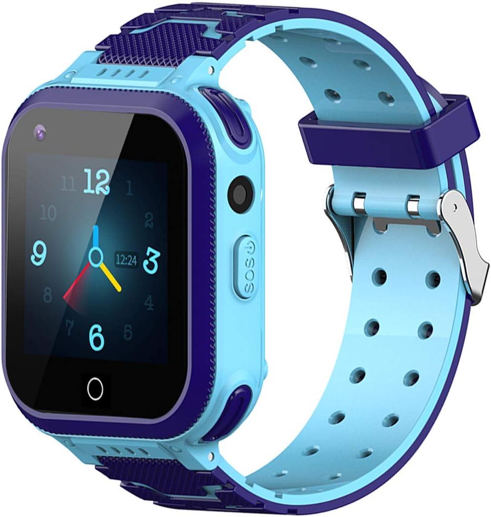 4G Reloj inteligente para niños, impermeable, con rastreador GPS, llamadas, alarma, podómetro, cámara, SOS, pantalla táctil, WiFi, Bluetooth, reloj de pulsera para niños y niñas, Blau- T3,