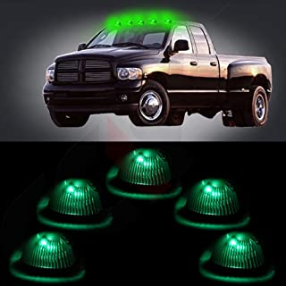 cciyu Replacement fit for 94-98 Dodge Ram 2500 3500 Black Smoked Cab Roof Top Marker Running Lamps w/Green LED Light Bulbs(5 Pcs)