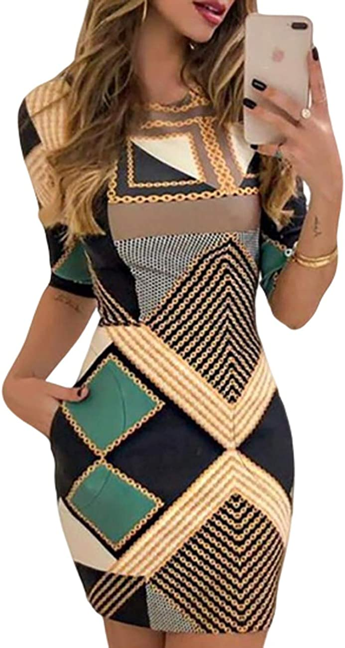 CHICME Women Sexy Chain Print Bodycon Slim Mini Dress