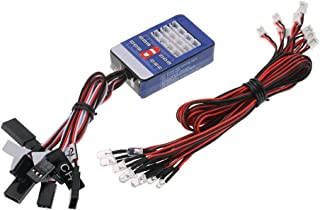 Goolsky 12 LED Lighting System Kit Steering Brake Smart Simulation Flash Lights for 1/10 Scale Models RC Car Yokomo Tamiya HSP HPI AXIAL RC4WD Traxxas