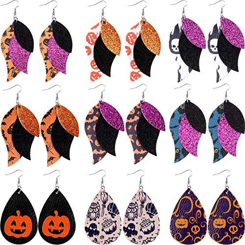 9 Pairs Halloween Faux Leather Earrings 3 Layered Halloween Earrings for Women Lightweight Double-Sided Leaf Drop Dangle Earrings for Halloween