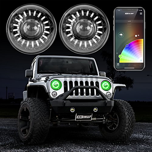 2pc 7' RGB LED Headlight Kit with XKchrome Smartphone App-Enabled Bluetooth and Switchback Enabled with Amber Turn Signal + White Daytime Running Light