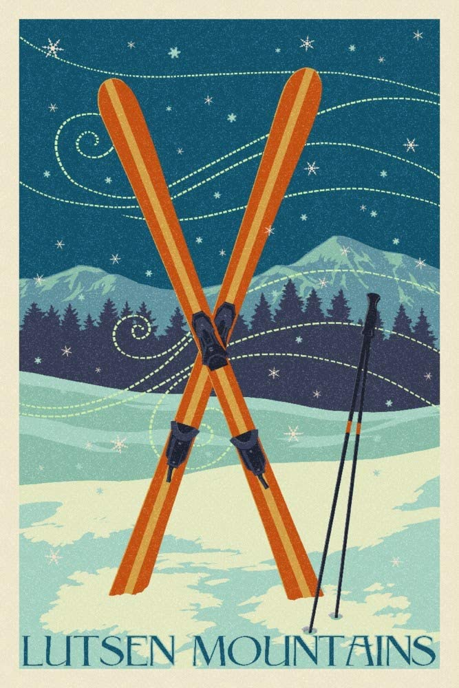 Our shop OFFers the best service Lutsen Mountains Inexpensive Minnesota Crossed Skis 105446 16x24 G Giclee