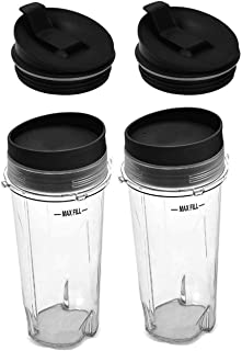 16oz Blender Cup Set for Ninja Replacement Parts Single Serve Cup with Lid and Seal Lid Fit Nutri Ninja Series BL770 BL780 BL660 BL740 BL810 Blenders