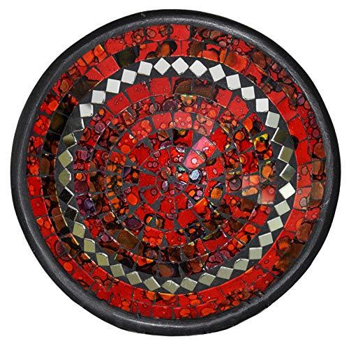Simandra Mosaikschale Tonschale Glasschale Dekoschale Mosaik Kunsthandwerk Glassteine Deko rund Spiegel L Farbe Rot
