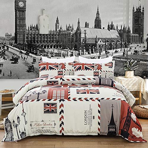 Dencalleus Juego de Funda de Edredón Sello de Correos, 200 x 200 cm con 2 x Fundas de Almohada de 50 x 75 cm para Cama 105, Londres Microfibra Bedding Sets Juego de Ropa de Cama, Reino Unido