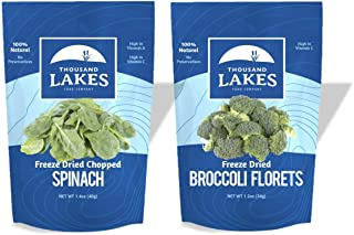 Thousand Lakes Freeze Dried Fruits and Vegetables - Broccoli Florets & Spinach 2-pack | 100% Veggies | No Salt Added