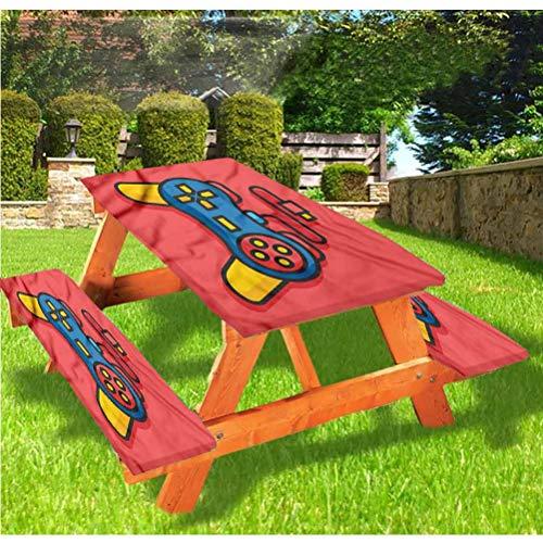 Gamer - Mantel ajustable para mesa de picnic y banco, diseño de Old School Controller D Pad mantel de borde elástico, 28 x 72 pulgadas, juego de 3 piezas para camping, comedor, exterior, parque, patio