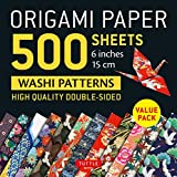 Origami Paper 500 sheets Japanese Washi Patterns 6' (15 cm): High-Quality, Double-Sided Origami Sheets with 12 Different Designs (Instructions for 6 Projects Included)