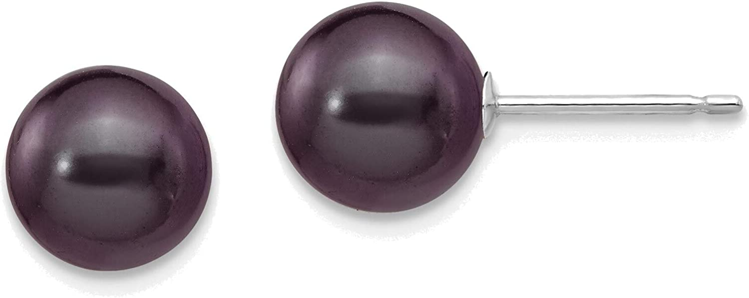 14kt White Gold 7-8mm Black Round Freshwater Cultured Pearl Stud Post Earrings