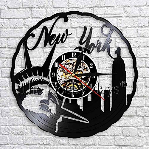 UIOLK New York Travel View Schallplatte Wanduhr einzigartige Home Decoration Original Uhr Geschenk