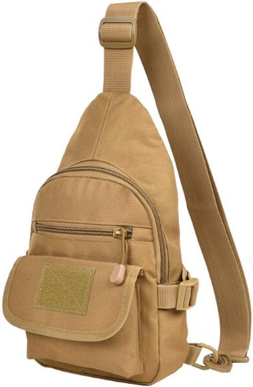 JIESEND Outdoor Bag Unilateral Tactical Pockets Diagonal Bag Multifunctional Chest Bag Backpack Bag, Brown