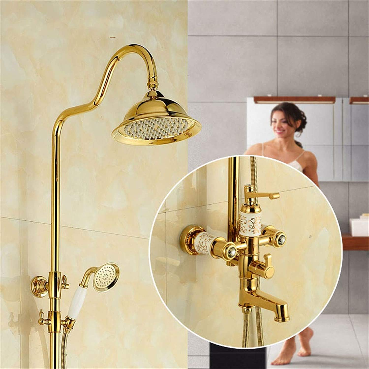 Hlluya Professional Sink Mixer Tap Kitchen Faucet The copper gold ceramic shower shower pink gold shower set retro shower faucet with lifting,