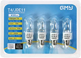 4-Pack JDE11 120V 75W T4 Halogen Bulb Dimmable Mini Candelabra Base Warm White for Chandeliers, Ceiling Fan, Cabinet Lighting, Table Lamps