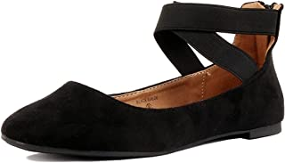Women's Classic Ballerina Flats with Elastic Crossing Ankle Straps Ballet Flat Yoga Flat Shoes Slip On Loafers