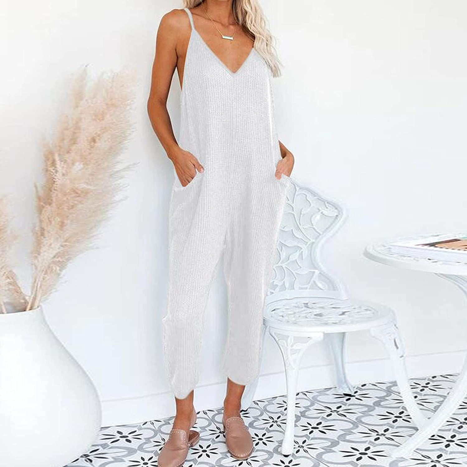 MURTIAL Womens Casual Spaghetti Strap Jumpsuits Sleeveless/Short Sleeve Stretchy Long Pants Romper with Pockets Loose Fit