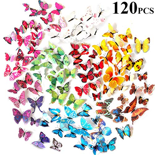 Tomkity 120 unidades Adhesivos Mariposas 3D Decorativos para Pared