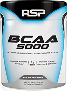 RSP BCAA 5000 (60 Serv), Premium BCAA Powder for Post Workout Muscle Recovery, Endurance & Energy, 5g of Branched Chain Am...