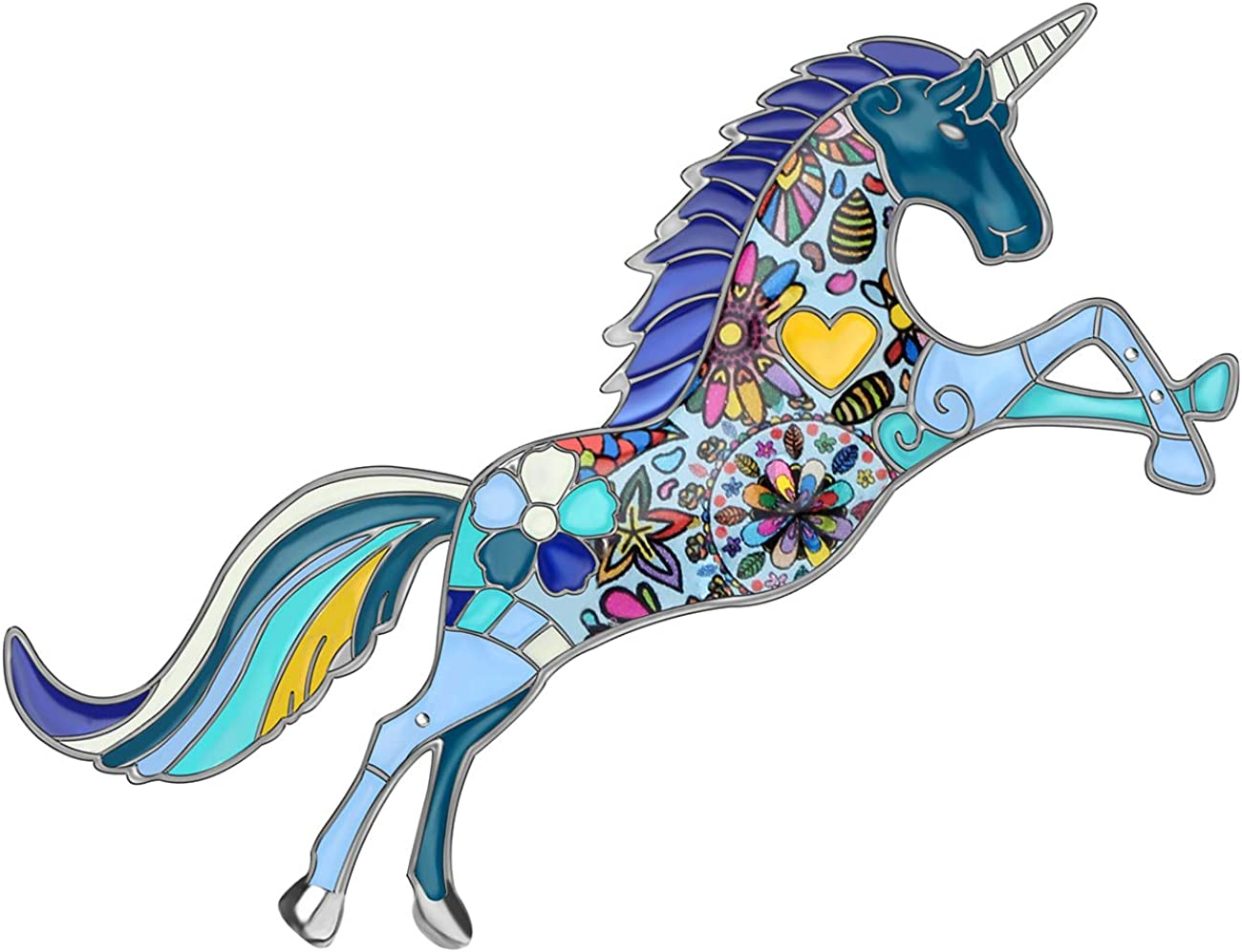 NEWEI Enamel Alloy Cut Colorful Unicorn Brooch Pin Fashion Animal Jewlery for Women Girls Gift Clothes Charms