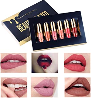 Beauty Glazed 6 PCS Matte Liquid Lipstick Waterproof Profession Lip Makeup Easy To Wear Long Lasting Lip Kit Matte Lip Gloss