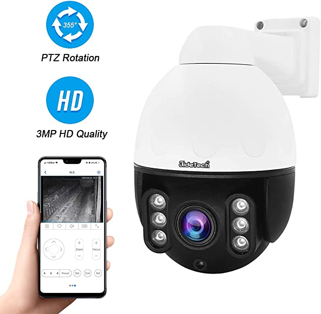 Cámara Domo IP PTZ PoE para Exteriores cámara de vigilancia de Seguridad HD 3MP H.265 con Zoom óptico 4X versión IR Night Compatible con ONVIF 2.4