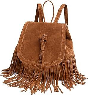 Rucksack Damen,iSpchen Fransen Frauen Rucksäcke Handtasche Reise Kleine Umhängetasche Quaste Große Kapazität Rucksäcke Braun