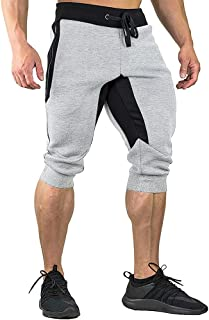 FASKUNOIE Men's Cotton Casual shorts 3/4 Jogger Capri Pants Breathable Below Knee Short Pants with Three Pockets