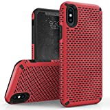 Zizo Echo Series Compatible with iPhone X Case Dual Layered TPU and PC with Anti Slip Grip iPhone Xs case RED Black