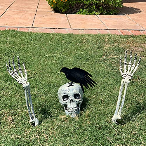 LRIGYEH Halloween Decorations Skeleton Stakes with Crow Set, Groundbreakers for Best Halloween Yard Decorations Outdoor…