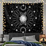 """Shinedian Sun and Moon Tapestry Wall Hanging, Burning Sun with Star Space Psychedelic Black and White Wall Tapestry for Bedroom Aesthetic Home College Dorm Wall Decor (59""""H x 78.7""""W, 150x200 cm)"""