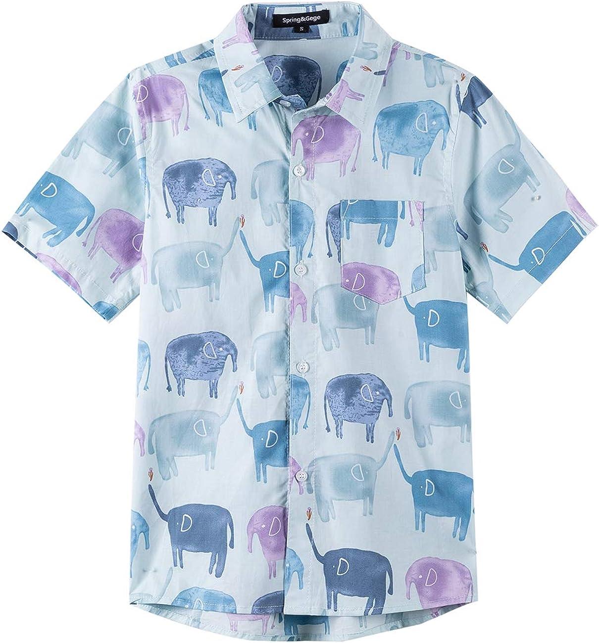 Spring&Gege Little Boys' Short Sleeve Woven poplin Shirt Casual Cartoon Print Aloha Shirts