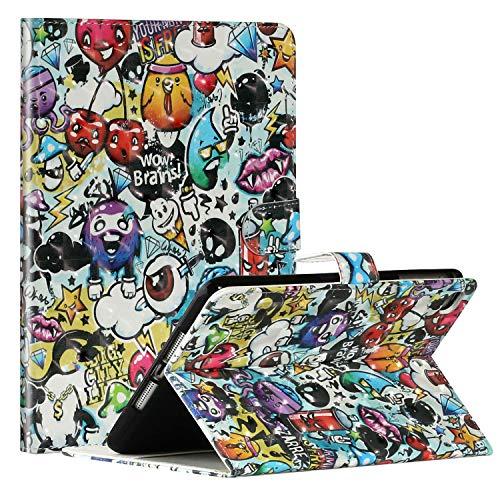 Miagon Tablet Hülle für iPad Mini 5/4/3/2/1 {7.9 Zoll},PU Leder 3D Muster Flip Brieftasche Case mit Standfunktion Kartenschlitz Stoßfest Cover,Graffiti