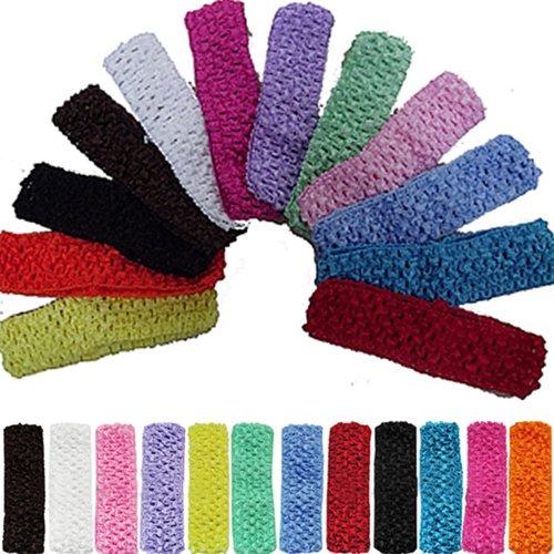 12pcs 1.5' Elastic Crochet Headbands Hair Bands Kid Baby Girls Toddler