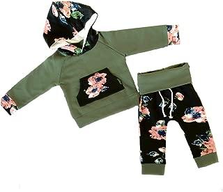女婴花卉 2 件套运动长袖连帽衫和裤子套装 橄榄绿